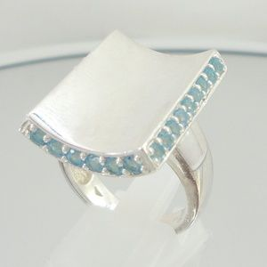 Sterling Silver Concave Front Blue Topaz Trim Ring